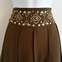 Load image into Gallery viewer, Green Beaded Skirt Midi Olive Midiskirt Sequins Sequined Beads Size Medium