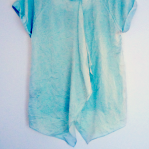 Mint Velvet Top Open Back Draped Green Pastel Blouse Size Medium