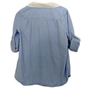 Tommy Hilfiger Top Shirt Tunic Blue Blouse Roll Cuff Collared Size Large