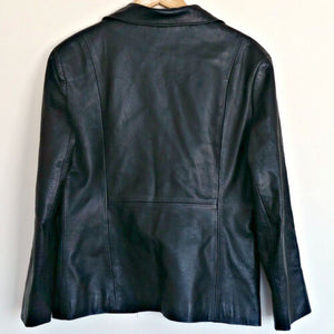 Vintage Leather Jacket Black 90s Coat Buttons Collar 1990s Size Large