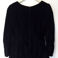 Load image into Gallery viewer, Velvet Dress Sweetheart Long Sleeve Full Party Cocktail Vintage 90s Size Medium