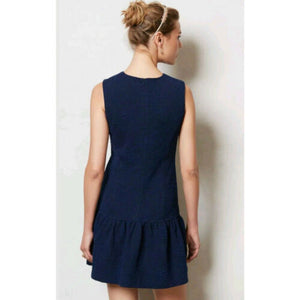 Anthropologie Dress Blue Mini Minidress Sleeveless Drop Waist Ganni Size Medium