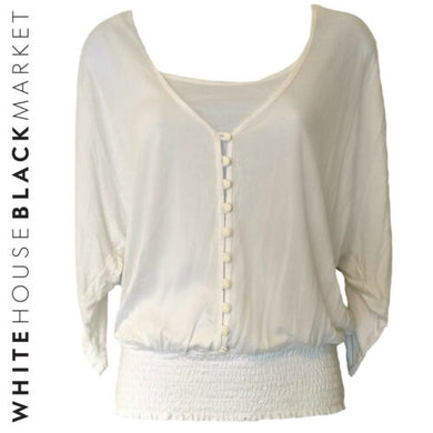 White House Black Market Top White Layered Shirt WHBM Blouse Size Small