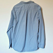 Load image into Gallery viewer, Blue Striped Shirt Mens Relaxed Stripes Yellow Button Up Size Large