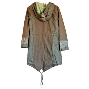 Tan Hooded Coat Trench Linen Anorak Sparkle Hood Jacket Scandinavian Size Small