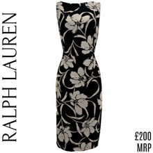 Load image into Gallery viewer, Ralph Lauren Dress Floral Black Ruched Sleeveless Knee Length Stretch Size Small