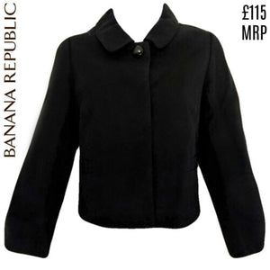 Banana Republic Jacket Blazer Shrunken Peter Pan Collar Wool Size Small