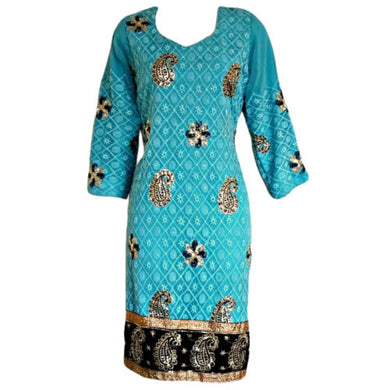 Beaded Kaftan Dress Blue Turquoise Sequin Sequined Kurti Tunic Size Medium