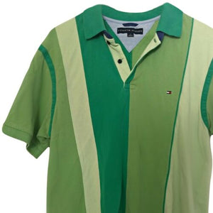Tommy Hilfiger Shirt Polo Green Stripes Striped Colour Block Size Medium