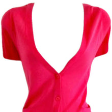 Load image into Gallery viewer, Pink Cardigan Jumper Short Sleeves Sleeve V Neck Fitted Size Medium
