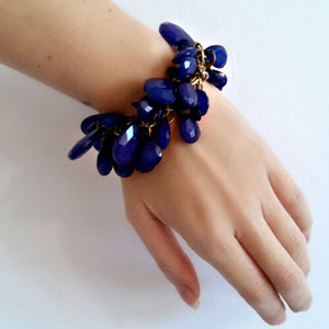 Blue Statement Bracelet Faceted Teardrop Stretchy Jingly Bold