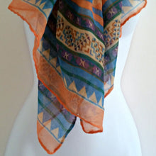 Load image into Gallery viewer, Coral Orange Scarf Large Ethnic Tribal Inspired Wrap Blue Patterned