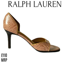 Load image into Gallery viewer, Ralph Lauren Shoes Leather Heels Pink Heel Snakeskin Snake Print Size 6