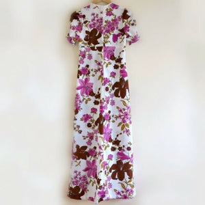 Vintage Dress Maxi Long Floral 60s Purple 1960s Maxidress Boho Size Small