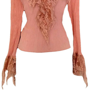 Vintage Pink Top 90s Lace Stretch Lacy 1990s Bell V Neck Blouse Size Medium