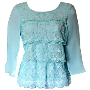 Blue Lacy Top Ruffled Layered Lace Ruffles Pastel Frills Size XS