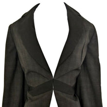 Load image into Gallery viewer, Tuxedo Blazer Jacket Check Charcoal Black Antonio Melani Long Line Size Small
