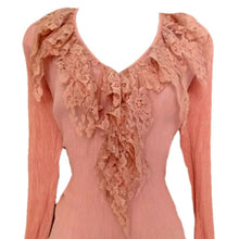 Load image into Gallery viewer, Vintage Pink Top 90s Lace Stretch Lacy 1990s Bell V Neck Blouse Size Medium
