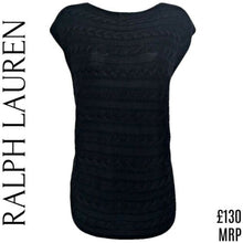 Load image into Gallery viewer, Ralph Lauren Jumper Sleeveless Top Blue Cable Knit Navy Long Size Small