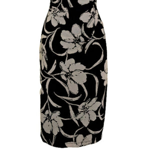 Ralph Lauren Dress Floral Black Ruched Sleeveless Knee Length Stretch Size Small