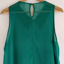 Load image into Gallery viewer, Studded Spike Top Collar Green Emerald Imitation Leather Trapeze Size Medium