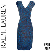 Load image into Gallery viewer, Ralph Lauren Dress Brown Blue V Neck Wrap Top Ruched Size Medium