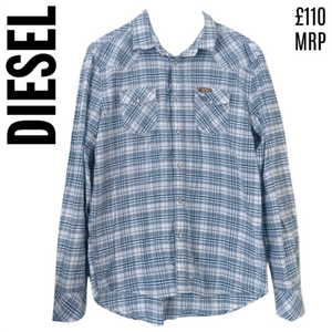 Diesel Shirt Men Button Up Blue Mens Check Checked Size Large