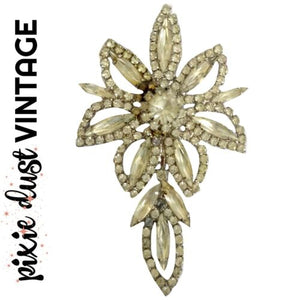 Antique Brooch Crystal Flower Weiss Rhinestone 40s 1940s Floral Pin Vintage