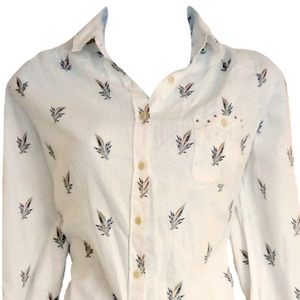 Paul Smith Shirt Button Up White Dotted Floral Size Medium