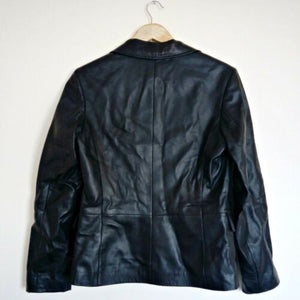 Black Leather Jacket Pockets Buttons Classic Genuine Size Medium