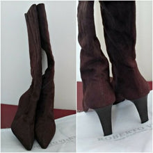 Load image into Gallery viewer, Brown Tall Boots Leather Lined Roberto Vianni Brown Zipper Heeled Pointed 6 7