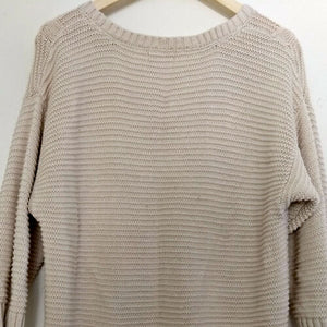 DKNY Jumper Cable Knit Oversized Oatmeal Beige Long Crew Size Large
