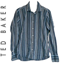 Load image into Gallery viewer, Ted Baker Shirt Men Grey Blue Striped Mens Button Up Buttons Size Large
