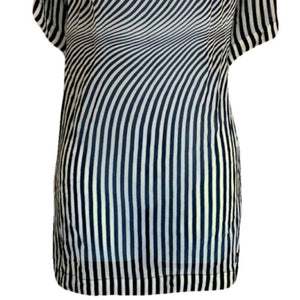Gianfranco Ferre Top Silk Tunic Vintage 80s Op Art Retro Sheer Size Large