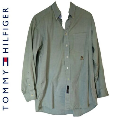 Tommy Hilfiger Shirt Button Down Men Buttons Grey Green Mens Size Large