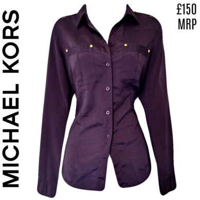 Michael Kors Top Purple Button Up Silky Buttons Shirt Long Sleeve Size Small