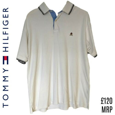 Tommy Hilfiger Shirt Mens Polo White Collared Men Classic Retro Size Large