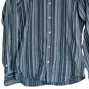 Ted Baker Shirt Men Grey Blue Striped Mens Button Up Buttons Size Large
