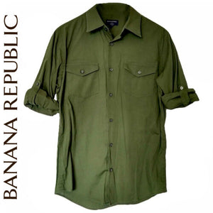 Banana Republic Shirt Men Green Button Up Buttons Roll Up Sleeves Size Medium