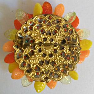 Vintage Brooch West Germany Leaves 1940s 40s 50s Antique Pin Autumn Orange