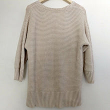 Load image into Gallery viewer, DKNY Jumper Cable Knit Oversized Oatmeal Beige Long Crew Size Large
