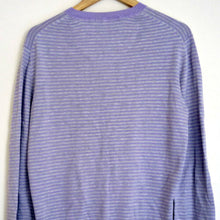 Load image into Gallery viewer, Paul Smith Jumper Top Purple Grey Stripes Shirt Knit Size Large