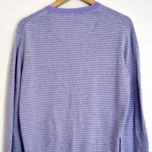 Paul Smith Jumper Top Purple Grey Stripes Shirt Knit Size Large
