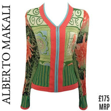 Load image into Gallery viewer, Alberto Makali Top Zipped Blouse Stretch Zipper Retro Green Coral Size Large