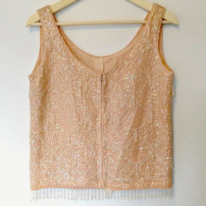 Vintage Beaded Top 60s Flapper Style Pink Sleeveless Fringed Sequin Size Small