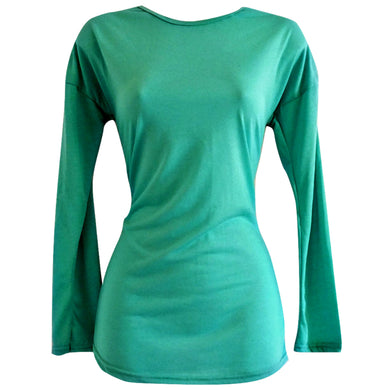 Exposed Zipper Top Green Long Sleeved Tshirt Tee Shirt Emerald Size Small
