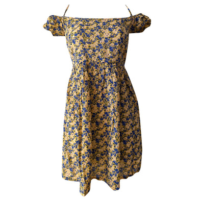 Floral Dress Mini Off Shoulder Retro Vintage Yellow Blue Babydoll Size Medium