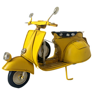 Scooter Figurine Ornament Tin Model Motorbike Vespa Gift Yellow Vintage Retro