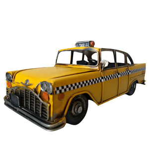 Taxi Car Ornament New York Cab Tin Model Large Yellow Checkered Collectable Gift
