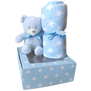 Baby Gift Set Shower Boy Blue Teddy Bear Blanket Soft Stars Pastel Plush Small